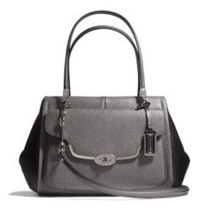 The Madison Madeline East/west Satchel In Spectator Saffiano Leather from Coach. Want this bag soooo bad!