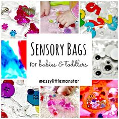 How to make sensory bags for babies and toddlers using laminator pouches.  6 different ideas.