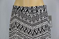 Apt. 9 Womens Small Black White Chevron Aztec Long Maxi Skirt Side Slit #Apt9…