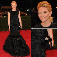 Classic Cate, stunning in this black gown and perfectly topped with a pumped up textured pony...