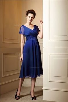 A-Line/Princess V-neck Tea-length Chiffon Mother of the Bride Dress