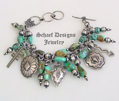 Schaef Designs Royston turquoise & Vince Platero sterling silver charms bracelet | www.schaefdesigns.com
