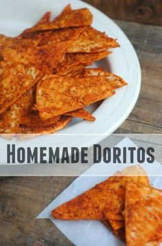 These homemade Doritos style chips are perfect for snack time! You& love the familiar cheesy flavor, crunch, and ingredients you can recognize! Homemade Chips, Homemade Tortillas, Snacks Homemade, Homemade Crackers, Homemade Tortilla Chips Baked, Recipes With Corn Tortillas, Flour Tortilla Chips, Homemade Cheez Its, Corn Tortilla Recipes