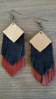 These earrings are so practical as you can pair them with any outfit! They are so lightweight! Each earring is hand cut and each is unique; your earrings may not look exactly like the picture, but will be from the same piece of leather.