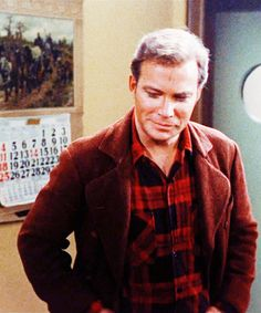 """Kirk from the episode """"The City On the Edge of Forever,"""" when they hop back to 1930. (Am the only one who thinks he looks like a Winchester in all that plaid? :P) << NOPE, I thought it too! Real men wear plaid."""