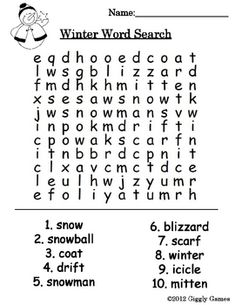 Enjoy the crisp, cool, winter air with this fun word search!!!Keywords: winter, Christmas, word search, free, snow...