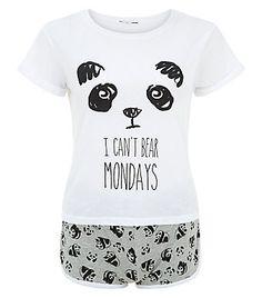 Ensemble pyjama ado noir avec imprimé panda « I Can't Bear Mondays » | New Look
