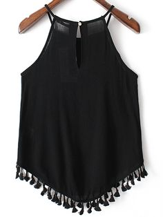 SheIn offers Black Fringed Hem Embroidery Spaghetti Strap Tank Top & more to fit your fashionable needs. Girls Summer Outfits, Girl Outfits, Fashion Outfits, Pretty Outfits, Cute Outfits, Boho Fashion, Girl Fashion, One Shoulder Ruffle Top, Estilo Boho