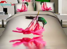 Hummingbird and floral print duvet cover set for you Buy link>>>http://urlend.com/Jj2QnaJ Live a better life, start with  Beddinginn http://www.beddinginn.com/product/Green-Hummingbird-And-Flower-Print-4-Piece-Cotton-Duvet-Cover-Sets-11241221.html