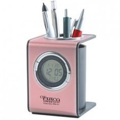Digital Clock with Pen Holder for Breast Cancer Awareness events or programs.