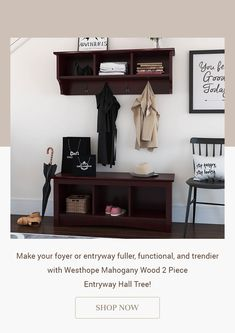 Make your foyer or entryway fuller, functional, and trendier with Westhope Mahogany Wood 2 Piece Entryway Hall Tree! #halltree #entryway #solidwood #shoestorage #furniture #cornerentryway #cornerhalltree #homedecor #decor #interiordecor #interior #interiordesign #bench #benchwithstorage #hanginghalltree