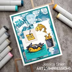 Teal Colors, Light Colors, Fish Jumps, Dark Ink, Fun Cards, Art Impressions, Masculine Cards, Ink Color, Cute Dogs