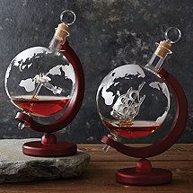 Etched Globe Whiskey Decanter Set with Antique Ship & Plane