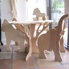 Children's menagerie furniture. I'd like to make this for outside. Maybe with tile on top of table. Would inexpensive material like plywood or mdf stand up to the elements?