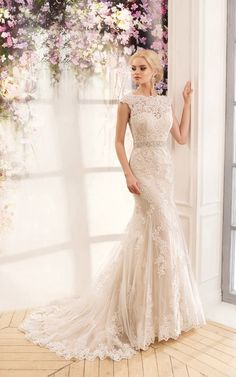 Wedding Dresses Simple, Lavish Tulle & Satin Bateau Neckline Mermaid Wedding Dresses With Lace Appliques, Shop discount wedding dresses and sales. Don't miss out, shop clearance wedding dresses before they're gone! V Neck Wedding Dress, Bridal Wedding Dresses, Cheap Wedding Dress, Dream Wedding Dresses, Lace Wedding, Celtic Wedding, 2017 Wedding, Backless Wedding, Floral Wedding