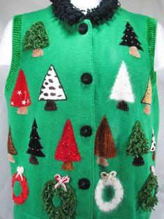 Christmas-Sweater-Vest-Sakon-M-cotton-blend-Green-Trees