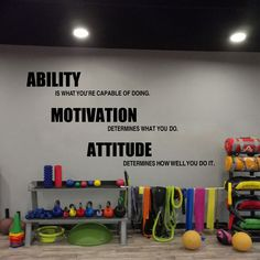 Gym wall decals vinyl poster Motivational Fitness Quotes Wall Stickers - Ability Motivation Attitude Gym Decor