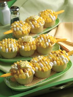 corn on the cob cupcakes that use jelly beans for the corn, starburst for the butter and colored sugar for the salt and pepper!