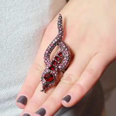 Kenneth Jay Lane Hot Pink Snake Ring ($105) ❤ liked on Polyvore