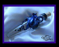 The Blue Kraken Flask: OOAK, Vintage Flask, Octopus Sculpture, with Swarovski crystal encrusted barnacles, by Elstwhen.