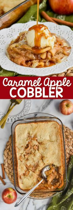 Caramel Apple Cobbler Recipe is the perfect combination of delicious tart apples coated in cinnamon and smooth homemade caramel, all in an amazing warm apple cobbler, made from scratch! Its the old fashioned apple cobbler recipe you are looking for. Apple Recipes, Fall Recipes, Baking Recipes, Blueberry Recipes, Fruit Recipes, Caramel Apple Cobbler Recipe, Apple Cobbler Recipes, Easy Desserts, Dessert Recipes