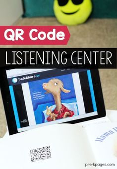 How to create a listening center using QR codes for your preschool, pre-k, or kindergarten classroom. An inexpensive way to make a listening center. Kindergarten Listening Center, Preschool Library Center, Listening Station, Kindergarten Centers, Preschool Literacy, Kindergarten Classroom, Listening Centers, Classroom Layout, Classroom Organization