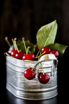 Cherries in tin basket
