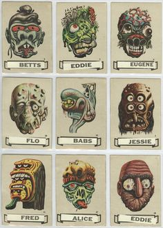 """Here's a selection of interesting vintage monster stickers labeled """"Name Stickers"""" in which you were to place a name tag on the . Monster Stickers, Monster Cards, Arte Horror, Horror Art, Horror Comics, Monster Tattoo, Monster Eyes, Vintage Horror, Weird Vintage"""