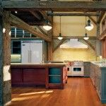 island kitchen cabinet industrial barn lights shine in a rustic industrial 17953