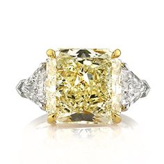 4.14 CARATS RADIANT FANCY YELLOW 3 STONE DIAMOND ENGAGEMENT ANNIVERSARY RING GIA CERTIFIED ON 950 PLATINUM OR 18K WHITE GOLD F 26 D