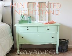 upcycled-mint-painted-nightstand. Love using a large, low dresser as a night stand if theres enough space!
