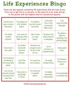 """Today's game is """"Life Experiences BINGO."""" This makes a great ice breaker to play as guests are arriving. Guests are asked to check off all statements that apply to them. Whoever c…"""