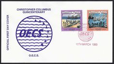 Montserrat First Day Cover Scott #825-26 (10 Mar 1993) Christopher Columbus Quincentenary Omnibus issue: Columbus coming ashore; Columbus' ships and natives watching from shore.   List of the Christopher Columbus Quincentenary Omnibus issue of the OECS (Organization of East Caribbean States): Antigua, Barbuda, Dominica, Grenada, Grenada Grenadines, Nevis, Montserrat, St. Kitts, St. Lucia, St. Vincent, St Vincent Grenadines.