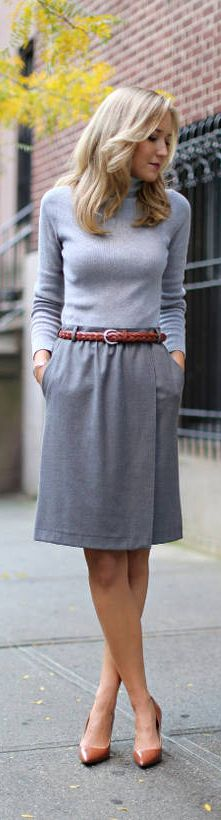 Women's Office Wear.  color column.  belt.  skin tone shoes to length; closed toe, more formal.