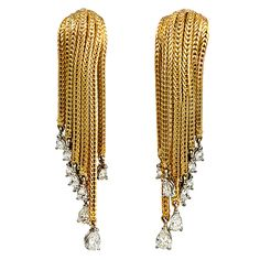 A Pair of Gold and DIamond Tassel Earrings