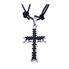Stainless Steel Enamel Center Cross Pendant with Black Cord