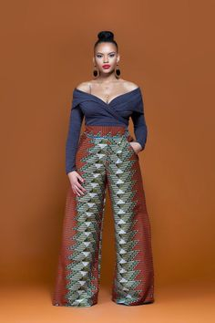 Pre Order Chaga African Print Wide Leg Pants (Available to Ship Monday October African American Fashion, African Print Fashion, Africa Fashion, Ankara Fashion, Indian Fashion, African Attire, African Wear, African Dress, African Style