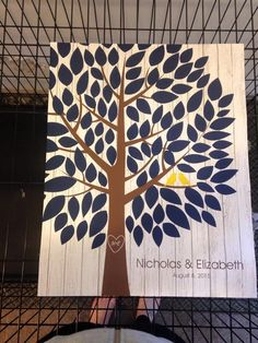 Whitewashed Wooden Wedding Tree | Guestbook Alternative | Rustic Wedding | Customer Photo | Wedding Colors - Navy & Yellow | peachwik.com