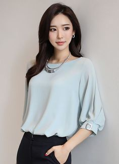 Dusty Grey Blue 3/4 Cuffed Sleeve with Silver Clasp detail | Styleonme | Korean Fashion, Women Fashion, Feminine Look, Simple Stylish Look, Classy Look, Office Look, Lovely, Romantic, High Quality, Fall Fashion