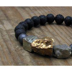 Black and Gold Stretch Bracelet, Chunky Titanium Quartz Statement... (480 PLN) ❤ liked on Polyvore featuring jewelry, bracelets, black gold jewellery, statement bracelet, chunky jewellery, quartz jewelry and chunky jewelry