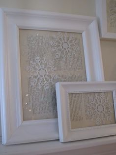 Winter mantle decorations, dollar store snowflake ornaments, frames and upcycled book pages.