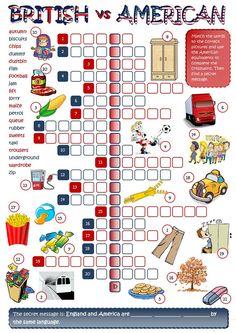 British vs American English - crossword worksheet - Free ESL printable worksheets made by teachers