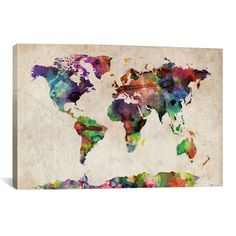 Mapping our destinations walls street art and printing michael tompsett urban watercolor world map canvas art overstock shopping gumiabroncs Choice Image