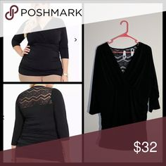Torrid lacy blouse NWT slimming black top with lace peek a boo on back.  Size 2 torrid Tops Blouses