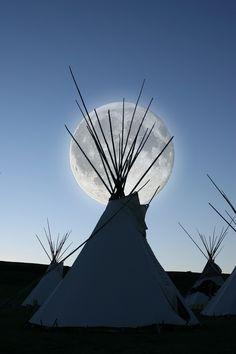 teepee in moonlight