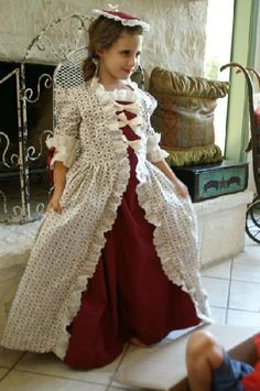 Girls Colonial Dress/Ball Gown, underskirt ,  Pinner cap & Purse ..  (Made to order). $95.00, via Etsy.