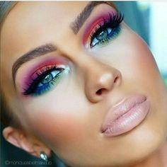 Amazing eye makeup in rainbow colors