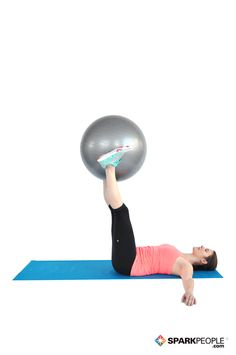 Pendulum with Ball. Love this abs move--so much more fun than regular crunches! |#abs #core #workout #exercise #fitness