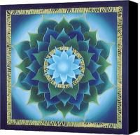 Lotus Painting Canvas Prints - Blue Aura Lotus Canvas Print by Charlotte Backman