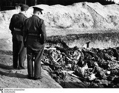 Vista impactante: los oficiales británicos se encuentran en la fosa común ...